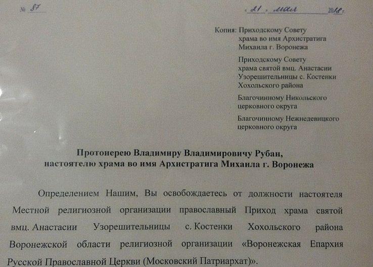 Указ об освобождении от должности настоятеля